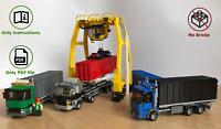 Lego harbor logistics container trucks with crane - MOC instructions no bricks