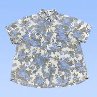 VINTAGE Sudden Impact Womens Top Large Blue Floral Rose Button Up Cotton India