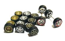 1/64 rubber tires rims - TE37 CE28 fit Hot Wheels Camaro VW Mustang - 4 sets