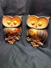 "Vintage Sexton Cast Iron Metal 2 Brown Owls Big Eyes Wall Art 9"" Long -1970's"
