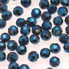 Perles en verre boule à facettes Ø5mm couleur bleu (x 5)