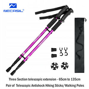 NECASIL Hiking Walking Sticks Poles PAIR Anti-Shock Telescopic Aluminum 65-135cm