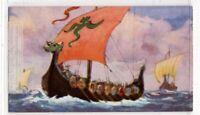 Norse Viking Raiding Triangular Sail Craft 1930s Trade Ad Card