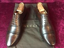 Mens Brown Gucci Leather GG Oxfords Sz 8 G / 9 US / 42 E / Made In ITALY