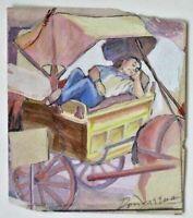 Don Freeman WPA Era 1930s New York Social Realist Artist Siesta Gouache Great!!!