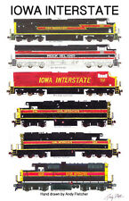 "Iowa Interstate Locomotives 11""x17"" Railroad Poster by Andy Fletcher signed"