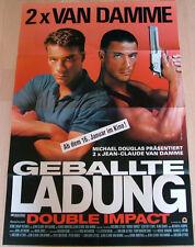 Van Damme GEBALLTE LADUNG - DOUBLE IMPACT original Kino Plakat ca A1Teaser