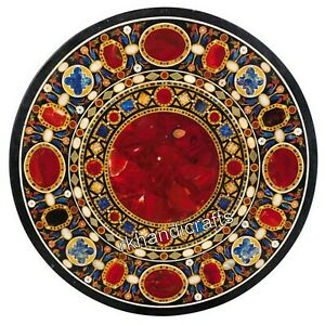 Red Jasper Stone Inlay Marble Reception Table Top Round Dinning Table 42 Inches