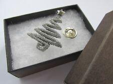 Handmade Christmas Xmas Silver Glitter Tree Brooch Lapel Tie Pin - Boxed