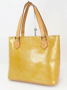 Authentic LOUIS VUITTON Houston Beige Vernis Tote Bag Purse #40515