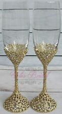 Gorgeous Crystal Champagne Glass Set, Stunning Sparkle Wedding Toasting Flutes