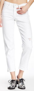 Spanx White The Slim-X Casual Cuffed Distressed Jeans Size 29 $148