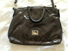 Dooney & Bourke Olive Dark Green Patent Leather Small Gold Tone Cross Body Bag