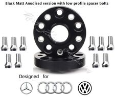 Merit Wheel Black Spacer Adapters 20 mm 5x112 66.6 mm 2 PCS AUDI VW & Bolts