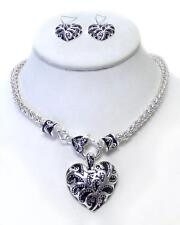 Designer Inspired Silver Tone Floral Wave On Heart pendant Necklace Earring Set