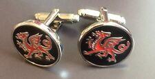 Cymru Embossed Rugby cuff links Wales Dragon Cufflinks Welsh Dragon Executive