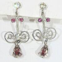 Vintage 1960s prong set rhinestone silver tone scrollwork screwback earrings