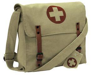 Khaki Vintage Medic Red Cross Canvas Shoulder Bag Rothco 9121