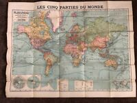 "Vintage Map of The World Printed in France Large 39""x50"" Cartes Taride"
