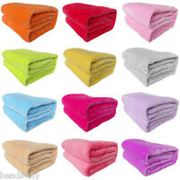 Plush Blankets Super Micro Soft Warm Fleece Solid Throw Sofa Bedding Rug Decor