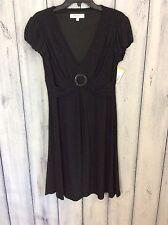 NWT Rena Rowan Womens Size 8 Dress Black V Neck Stretchy Puffy Sleeves 88.00