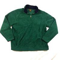 St Johns Bay Men Sz L 1/4 Zip Green Long Sleeve Fleece Jacket Outerwear