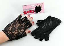 Adult Ladies Black Lace Short Fingerless Gloves Madonna Lady 1980's Fancy Dress