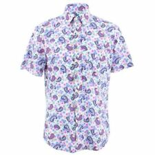 Camicie casual e maglie da uomo a manica corta bianca floreale