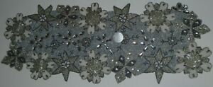 NEW PIER 1 IMPORTS FLORAL & STAR SILVER, WHITE BEADED TABLE RUNNER