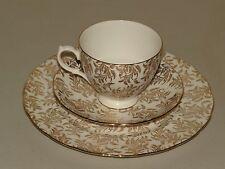 LOVELY * GAINSBOROUGH * ENGLAND BONE CHINA TEA SET TRIO ~ GOLD LEAF CHINTZ