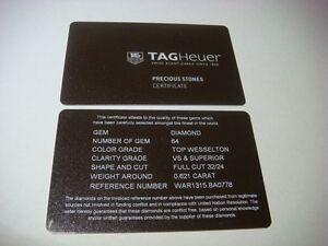 Genuine TAG Heuer watch Certificate Card Precious Stones WAR1315.BA0778