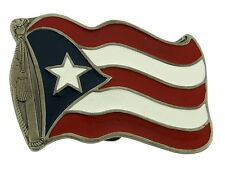 Pewter Metal Mens Western Rodeo New Puerto Rico United States Flag Belt Buckle