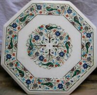 Multi Gemstones Inlaid Coffee Table Top White Marble Center Table Size 21 Inches