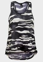 LADIES H&M PRINTED BLACK/CREAM SLEEVELESS LIGHT FABRIC VEST TOP SIZES S,M,L,XL