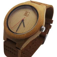 ENGRAVED Wooden Watch PERSONALISED Leather Luxury  Unisex Gents Ladies Wood Case