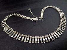 Vtg Denbe Signed Prong Set Rhinestone Baguette Fringe Choker Necklace Silver Tn