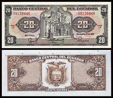 Ecuador - 20  Sucres  22-11-1988  Pick 121Aa  SC = UNC