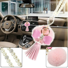 30cm Car Pink Bling Crystal Rearview Mirror Hanging Fluffy Bow Deco Accessories