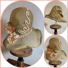 Antique Victorian Straw Hat Floral Sheer Bonnet Handmade Art Deco Flapper Vtg