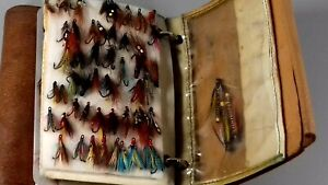 VINTAGE LEATHER FISHING FLY WALLET + FLIES COLLECTION