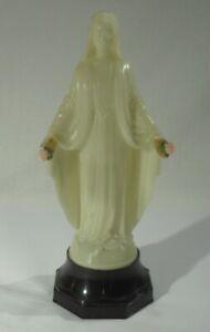 alte MADONNA SKULPTUR mit SPIELUHR Sockel von Mapsa Maria Heiligenfigur Jesus