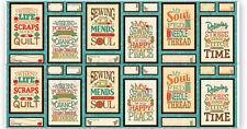 "Sew Quilt Inspiration Quotes Cotton Fabric QT Sewing Mends Soul 24""X44"" Panel"