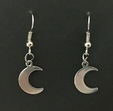 Small dark silver coloured Dangle Earrings Pagan Half Moon Gothic Witch