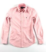 Ralph Lauren Shirt Women's Harper Oxford Rose Pink Solid Custom Fit Long Sleeve