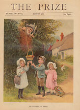 GIRL WITH DOLL IN DOLL CARRIAGE APPLES FRUIT APPLE TREE LITHOGRAPH PRINT 1904