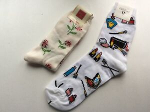 2 PAIRS WOMENS NOVELTY QUEEN SIZE SOCKS *COSMETICS & FLOWER * WHITE/IVORY *NWL