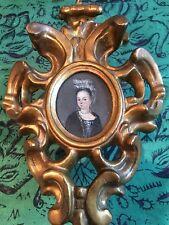 Antiguo Retrato de aceite en el panel de cobre en miniatura en recargado marco dorado rococó