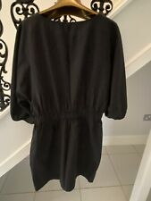 WORN ONCE H&M Ladies Black Cotton Tunic Dress - Pockets/Balloon Sleeve Size14-16