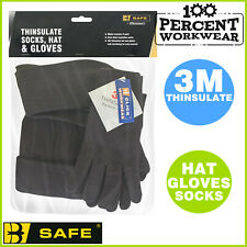 Winter Warm Quality Thick Socks 3M Thinsulate Beanie Hat Gloves Set Outdoor Work