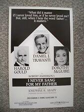 I NEVER SANG FOR MY FATHER Window Card DANIEL J. TRAVANTI / DOROTHY McGUIRE 1987